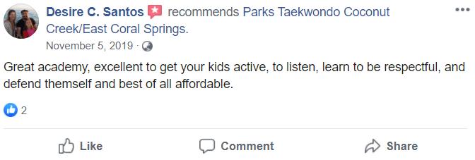Kids2.1, Park's TaeKwonDo Coral Springs HQ