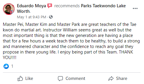 Adult Lakeworth 1, Park's TaeKwonDo Coral Springs HQ