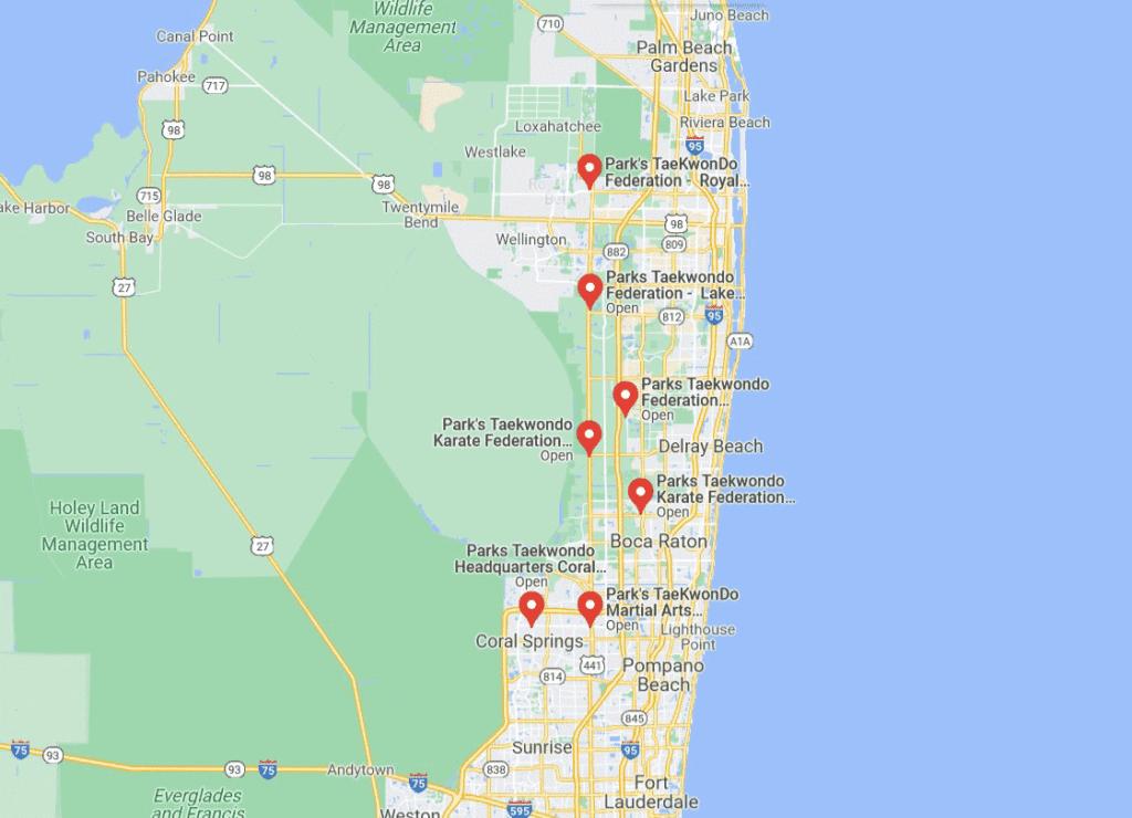Parks Map2 1024x740, Park's TaeKwonDo Coral Springs HQ
